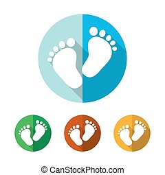 Set of colored footprint icons. Vector illustration.