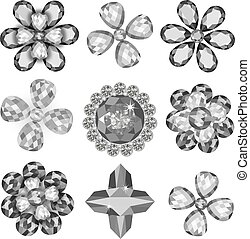 Set of colored gems isolated on white background, vector...