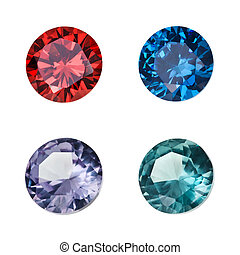 Set of colored gemstones isolated on white background