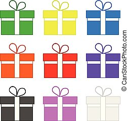 Set of Colored Gifts isolated on white background. Holidays Element. Vector Illustration for Your Design, Game, Card.