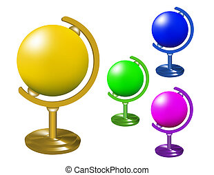 Set of colored globes on a stand.