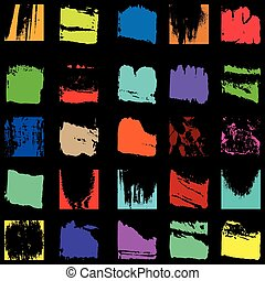 set of colored grunge textures graffiti