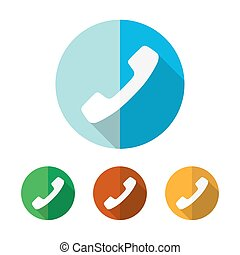 Set of colored handset icons. Vector illustration.