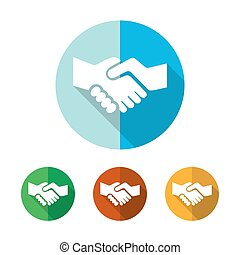 Set of colored handshake icons. Vector illustration.