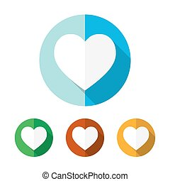 Set of colored heart icons. Vector illustration.