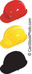 Set of colored helmets. vector