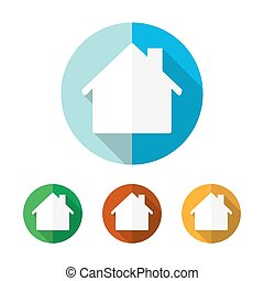 Set of colored house icons. Vector illustration