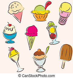 Set of colored ice creams sketches