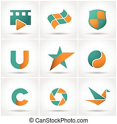 Set of colored icons.