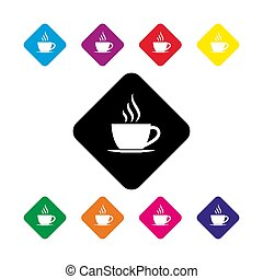 Set of colored icons of a Cup of hot coffee in a square
