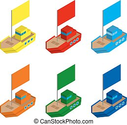 Set of colored isometric 3d toy ships with flags