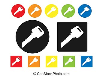 Set of colored key icons. Simple design