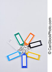 set of colored keyrings