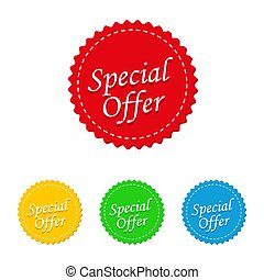 Set of colored labels with special offer. Vector illustration