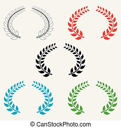 Set of colored Laurel leaves on white isolated background. Vector elements for your design.