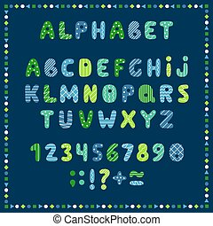 Set of colored letters and numbers. Childrens alphabet. Font for kids. Bright colors, blue, green, yellow on blue background.