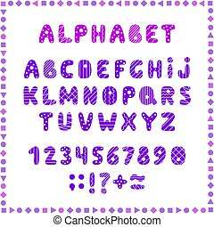 Set of colored letters and numbers. Childrens alphabet. Font for kids. Bright colors, pink and purple on white background.