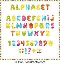 Set of colored letters and numbers. Childrens alphabet. Font for kids. Bright colors, pink, blue, green, yellow on white background.