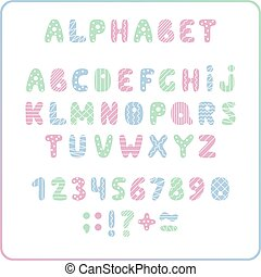 Set of colored letters and numbers. Childrens alphabet. Font for kids. Light colors, pink, blue, green on white background.