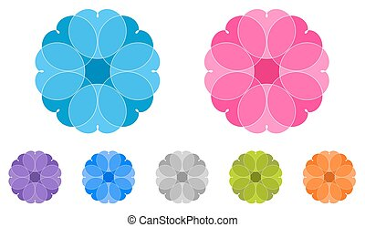 Set of colored mandalas. Spirographs. Ornaments