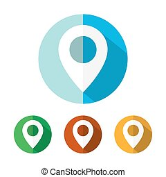 Set of colored map marker icons. Vector illustration.