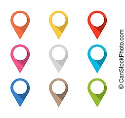 Set of colored map pointers with long shadow. Isolated