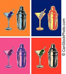Set of Colored Martini Cocktails with Olives Shaker Vector...