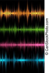 music sound waves - Set of colored music sound waves for...