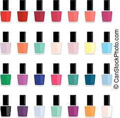 Set of colored nail polishes, vector illustration