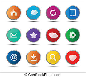 Set of colored navigation web icons on white background