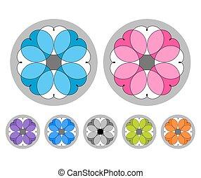 Set of colored ornaments. Mandalas. Spirographs