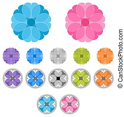 Set of colored ornaments. Spirographs. Mandalas