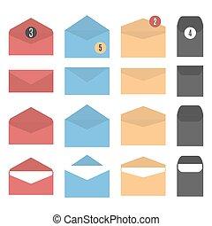 Set of colored paper envelopes, vector illustration.