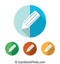 Set of colored pencil icons. Vector illustration.