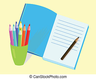 pencils and diary