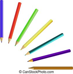 set of colored pencils crayons isolated on white background.