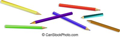 set of colored pencilswith shadow crayons isolated on white background.