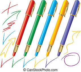 Set of colored pens