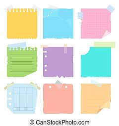 set of colored pieces paper