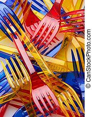 Set of colored plastic forks