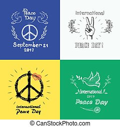 Set of Colored Posters for International Peace Day