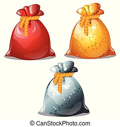 Set of colored pouches of Santa Claus isolated on white background. Sample of poster, party holiday invitation, festive card. Vector cartoon close-up illustration.