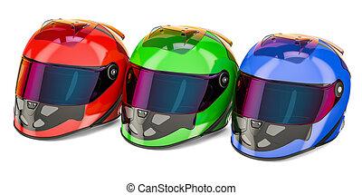 Set of colored racing helmet, 3D rendering