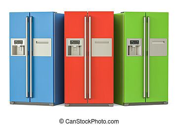Set of colored refrigerators with side-by-side door system,...