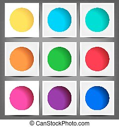 set of colored round banners