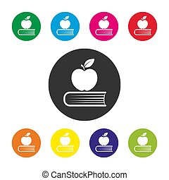 Set of colored round education icons, simple design