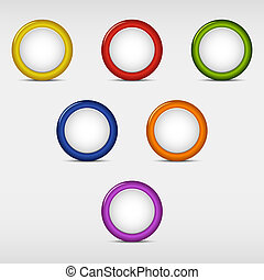 Set of colored round empty buttons