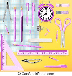 Set of Colored school supplies background. EPS 10