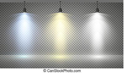 Set of colored searchlights on a transparent background. Bright lighting with spotlights. The searchlight is white, blue
