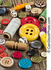 Set of colored sewing buttons